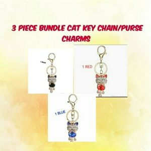NEW 3 Smile Cat Crystal Key/Purse Charms